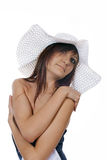 Charming young woma in white hat Stock Images