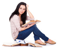 Charming young woman with books Royalty Free Stock Photo