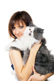 Charming young woman with cat royalty free stock image