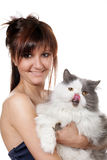 Charming young woman and cat royalty free stock photography