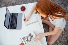 Charming young woman doing homework stock photo