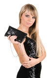 Charming young woman with fancy-bag Royalty Free Stock Photography