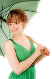 Charming young woman with green. Umbrella, isolated on white background Stock Photos