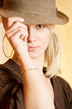Charming young woman in hat Royalty Free Stock Photos