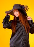 Charming young  woman in a hat Stock Image