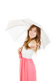 Charming young woman holding umbrella wearing elegant dress Stock Photography