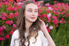Charming young woman posing in park royalty free stock photos