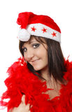 Charming young woman  in santa cap Stock Photos