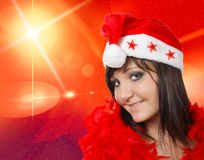 Charming young woman in santa cap Royalty Free Stock Image