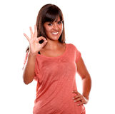Charming young woman showing you ok sign Stock Image