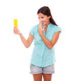 Charming young woman taking photos of herself Stock Image