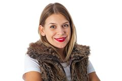 Charming lady with fur vest Stock Images