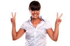 Charming young woman with a winning attitude Royalty Free Stock Photos