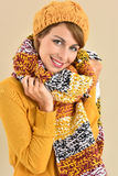 Charming young woman in winter outfit Stock Photos