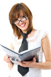 Charmingly smiles. The financial report. Young Japanese woman charmingly smiles Stock Photography