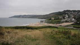 Charmouth Dorset England UK and coast. View of Charmouth beach and coast Dorset England UK stock video