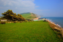 Charmouth Dorset England UK overlooking Lyme Bay with green fields and coast Royalty Free Stock Images