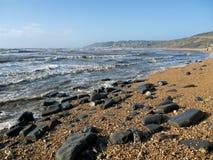 Charmouth Seascape - Februari Arkivbild