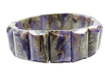 Charoite gemstone bracelet jewelery Stock Photo