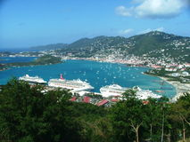 Charolette Amalie. Post card style view of downtown St. Thomas, US Virgin Islands on a cruise ship day in travel season Stock Photography