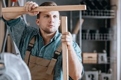 Charpentier concentré assortissant les pièces en bois Images stock
