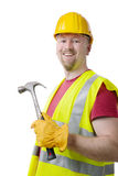 Charpentier Contractor Man Hardhat d'isolement sur le blanc Photographie stock