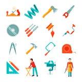 Charpentier Icon Flat Set Photo libre de droits