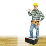 Charpentier sur l'étage en bois Image stock