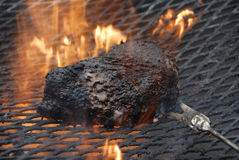 Charred beef on the grill. Authentic charred beef on open-flame grill Royalty Free Stock Photo