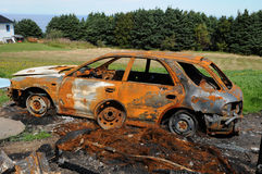 Charred car Stock Image