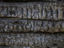 Charred a fire wooden boards Royalty Free Stock Photos