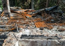 House fire remains. Charred remains from a residential fire royalty free stock image