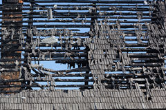 The charred roof of the house Royalty Free Stock Image