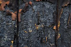 Charred wall as a background Stock Photos