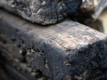 Charred wooden beams stock photo