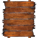 Charred wooden boards. Six rows of charred wooden boards attached to two wooden posts, isolated on a white background Stock Image