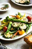 Charred Zucchini,Okra and Baby Carrot with Thyme and Balsamic stock photography