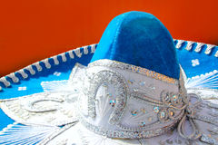 Charro mariachi blue mexican hat stock images