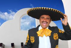 Charro mariachi portrait singing in mexican house Royalty Free Stock Photo
