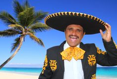 Charro mariachi singing shout in Mexico beach. Charro mariachi portrait singing shout in Mexico Caribbean beach Royalty Free Stock Photos