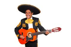 Charro mexican Mariachi playing guitar on white Stock Photos