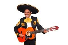 Charro mexikanischer Mariachi, der Gitarre auf Weiß spielt Stockfotos