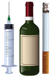 Charset wine syringe cigarette Stock Image