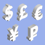Charset world currencies. Isometric set of currency symbols of the world - dollar, pound sterling, euro, yen, ruble on blue background. Vector 3d illustration Royalty Free Stock Images
