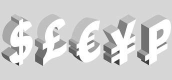 Charset world currencies. Isometric set of currency symbols of the world - dollar, pound sterling, euro, yen, ruble on gray background. Vector 3d illustration Stock Photos