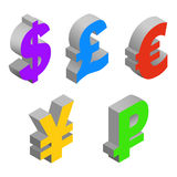 Charset world currencies. Isometric set icons of currency symbols of the world - dollar, pound sterling, euro, yen, ruble on white background. Vector 3d Royalty Free Stock Images