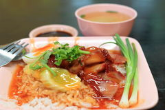 Charsiew rice with steam egg. Isolate for charsiew rice with steam egg royalty free stock photos