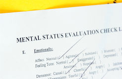 Chart. Mental status medical chart Royalty Free Stock Images