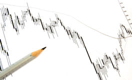 Chart. Exchange rates review with pencil Stock Photos