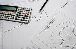 Chart. Using a calculator Royalty Free Stock Photos